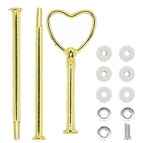 (Multi-Style 2 Or 3 Tier Plate Handle Fitting Hardware Rod Tool Cake Plate Stand - Golden Heart # SoundsBeauty)