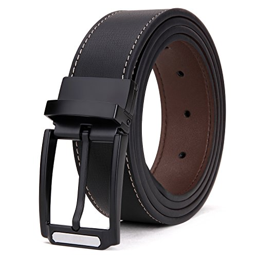 (Tonly Monders Men's Reversible Belt Dress Leather Belts For Men Rotated Buckle Waist 49
