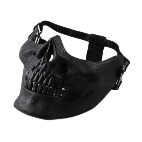 ASX Design Wargame CS Paintball Protective Gear Half Face Airsoft Mask Skull Black]()