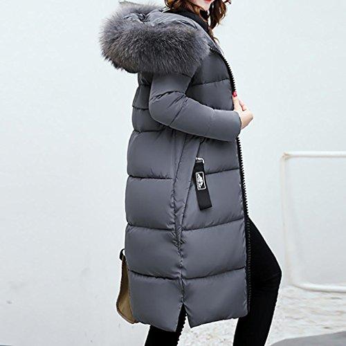 Slim Cappuccio Pelliccia Parka Grigio Lammy Imbottito Outwear Ladies Xinantime Solid Casual Coat Women Oversize In Warm Sintetica Gi�� Winter Con Overcoat Giacca Collo zRC7qR