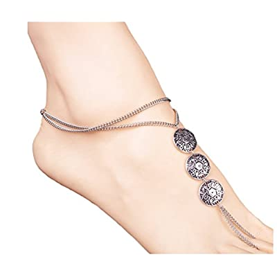 New WOWOHE Fashion Womens Coins Pendant Barefoot Sandal Foot Jewelry Anklet Chain Barefoot chain for sale