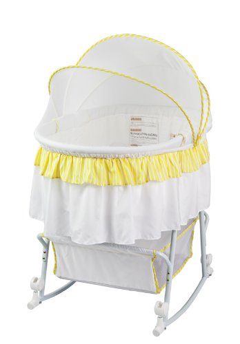 Dream On Me Lacy Protable 2 in 1 Bassinet and Cradle, Yellow/White