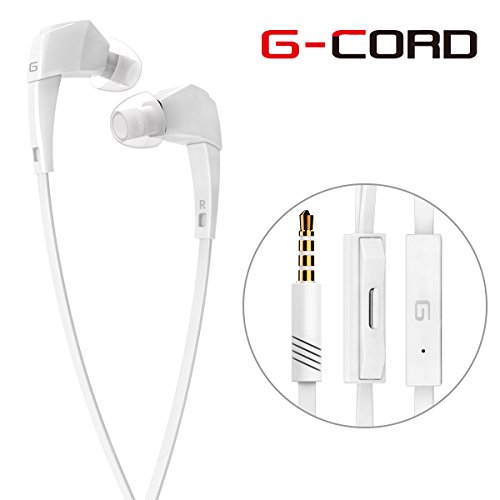 G-Cord (TM) Tangle-Free In-Ear Flat Cable Earbuds with Built in Mic and Remote Control earphones for Apple iPhone, iPad, iPod, Samsung Galaxy, Tablets and More