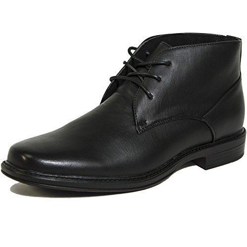 Alpine Swiss Men's Black Leather Lined Dressy Ankle Boots 12 M US - Black Leather Swiss