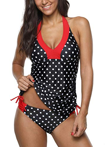 Red Halter Tankini - ALove Polka Dot Two Piece Swimsuits for Women Backless Tankini Top Triangle Briefs Red L