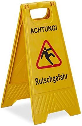 Relaxdays Achtung Rutschgefahr Aufsteller, klappbar, Warnschild vor Glätte, beidseitig beschriftet, Hinweisschild, gelb, 1 Stück