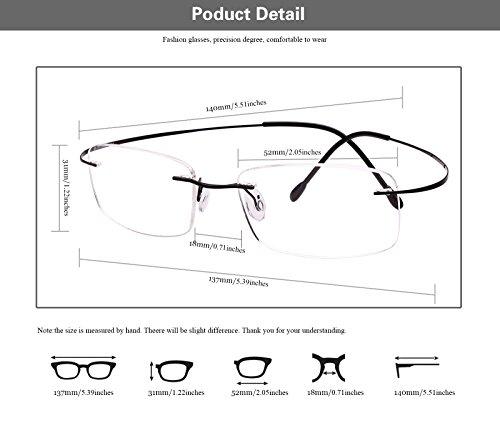 a57e5b09f53 Agstum Pure Titanium Rimless Frame Prescription Hingeless Eyeglasses Rx