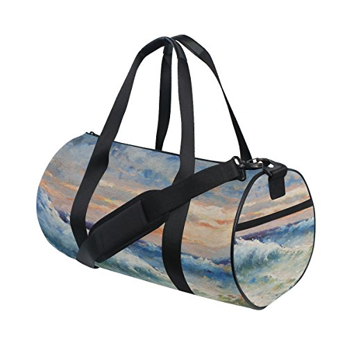 (Gym Sports Bag Sea Waves And Storm Oil Painting Travel Duffel Bag for Men and)