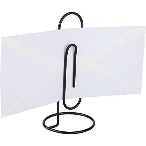 Home-X - Jumbo Desk Paper Clip Memo Holder & Organizer, Perfect Office Accessory to Hold, Organize and Access Bills, Letters, Reminders and Notes, Black