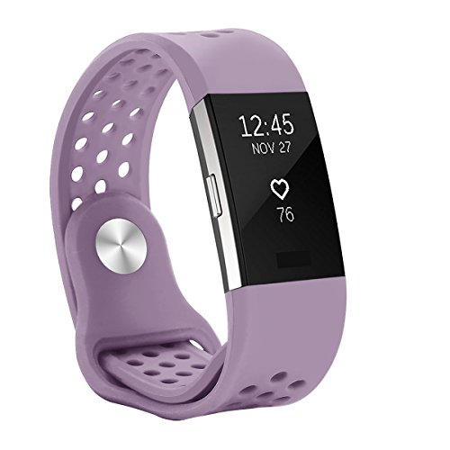 Hanlesi Band for Fitbit Charge 2 , Replacement Fitness Accessory Silicone Wristband Fashion Sport Strap (Lavender, Small Size)
