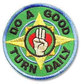 Cub Girl Boy DO A GOOD TURN DAILY Embroidered Iron-On Fun Patch Crests Badge Scout ()