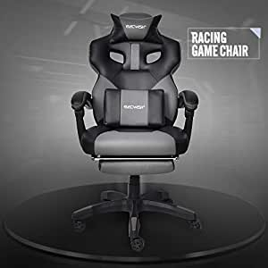 ELECWISH Ergonomic Computer Gaming Chair, Large Size PU Leather High Back Office Racing Chairs with Widen Thicken Seat and Retractable Footrest and Lumbar Support Video Game Chair 170 Degree Reclining (Grey)