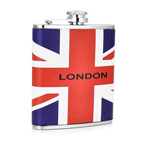 GENNISSY Pocket Hip Flask 7 Oz with Funnel - Stainless Steel withLeather Wrapped Cover and 100% Leak Proof (Tequila And Sprite)