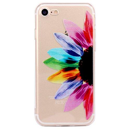 iPhone 7 plus Coque, JIAXIUFEN TPU Coque Silicone Étui Housse Protecteur pour iPhone 7 plus (2016) - Half Sunflower
