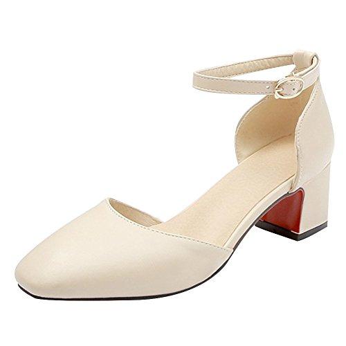 Charm Foot Womens Elegante Cinturino Alla Caviglia Mid Heel Dorsay Scarpe Chunky Albicocca