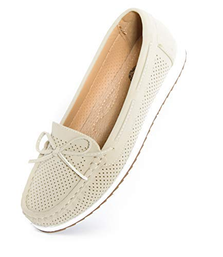 PU with Leather Insole Loafers Driving Mocs Casual Slip On Fashion Comfort Flats (8, Beige) ()