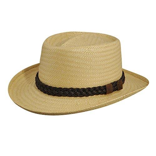 Country Gentleman Men's Joseph Wide Brim Straw Fedora Hat, Natural, L
