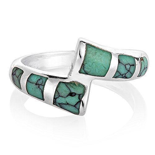 925 Sterling Silver Wrap Inlay Blue Turquoise Stone Square Stackable Band Ring Size 7 - Multi Gemstone Inlay Ring