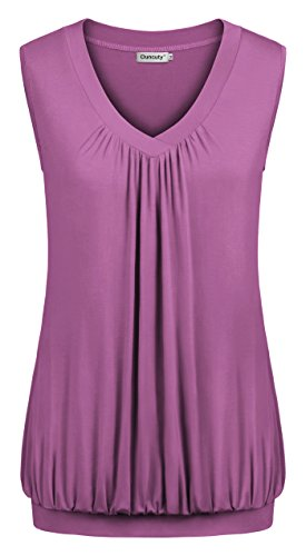 Ouncuty Sleeveless Blouses Shirts for Women Fashion 2019 V Neck, Summer Tunic Tops Flattering Elegant Pretty Blouse Modern Soft Breathable Strapless Sexy T-Shirt with Banded Hem Mauve XL