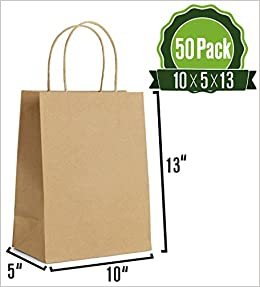 Bolsas de regalo de papel kraft marrón con asas 50 unidades ...
