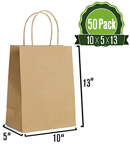 Brown Kraft Paper Gift Bags Bulk with Handles 10 X 5 X 13 [50Pc]. Ideal for Shopping, Packaging, Retail, Party, Craft, Gifts, Wedding, Recycled, Business, Goody and Merchandise Bag