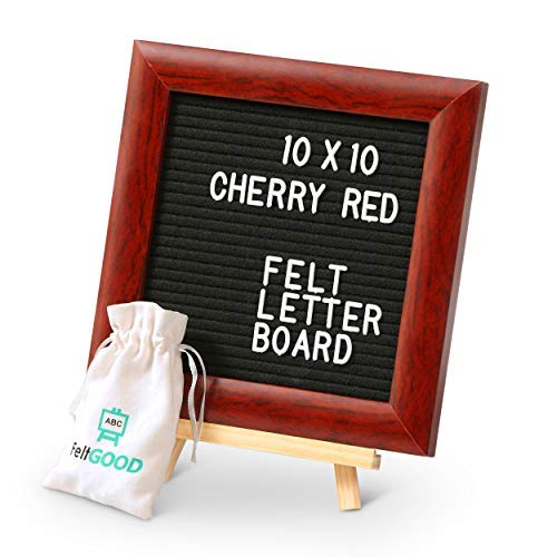 Premium Felt Letter Board Bundle + Red Cherry Wood Frame + Easy-Stick Technology + 510 Durable Long Lasting Letters with Storing Bag, Scissors, Kickstand, Gift Box + Wall Mount