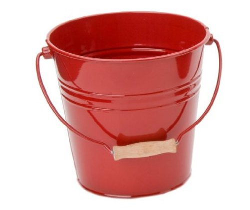 Christmas Tablescape Decor - Red Steel Fun Pail by Houston International
