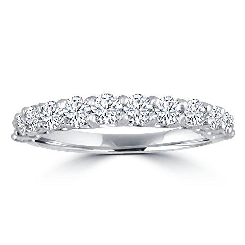 1.00ct Round Diamond 14k White Gold Half Eternity Prong Wedding Band Ring - Gold Half Eternity Diamond