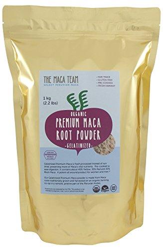 Certifié bio Premium gélatinisé Maca en poudre - récolte incroyablement puissant, frais, du Pérou, commerce équitable, sans OGM, Gluten libre, Vegan et cuits et 2,2 Lb - 111 portions