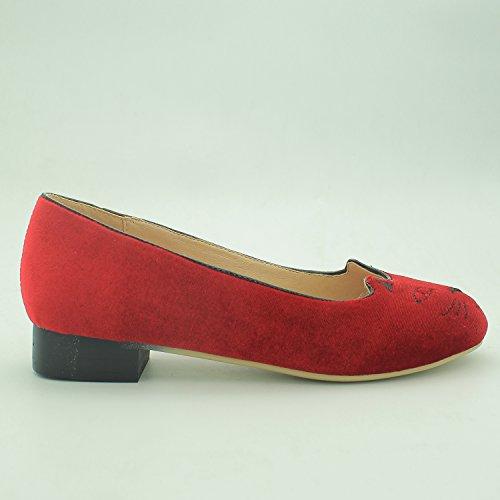 VASHOP Womens Velvet Cartoon Cat Embroidered Smoking Slipper Flat Loafer Shoes Red mJZoE