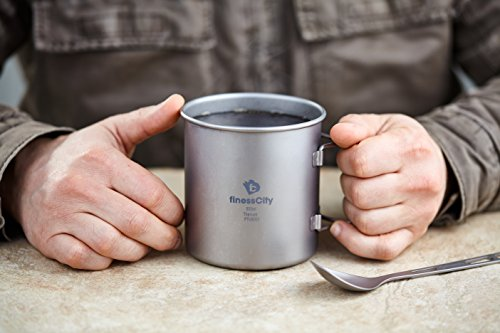 Titanium Cup (600ml ) Camping Mug With Measurement Marks, Extra Strong Ultra Lightweight (Ti), Healthy & Eco-Friendly Cup for Travel / Camping in Easy to Store Cloth Case (600ml)