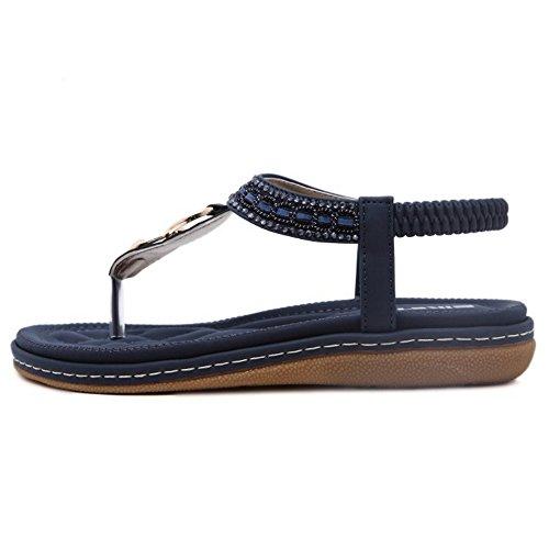 Strap Beach TAOFFEN Flat Flop Flip Bohemia 768Blue Women Slingback 37 T EU Sandals 8f1FHf