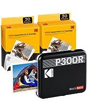 KODAK Mini 3 Square Retro Portable Printer - Social Media Photo Instant Printer Premium App iOS & Android Compatible Wireless Connection 3x3inch Photo - 4PASS Technology - 60 Sheet Bundle Black