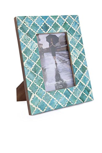 Picture Frame Photo Frame Moorish Damask Moroccan Arts Inspired Handmade Naturals Bone Frames Size 4×6  5×7 Inches (5X7, Green)
