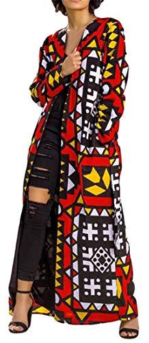 YYG Women Print Belted Color Block Fashion Trench Coat Cardigan Jacket Overcoat 1 -
