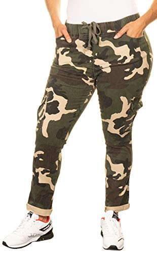 Twill Jean Leggings - Camouflage Plus Size Cargo Cuffed Bottom Twill Joggers Stretchy Pants for Women (Plus Size 3X, Camouflage)