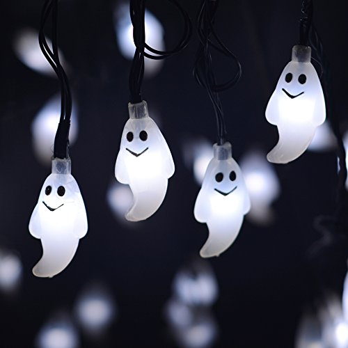 leviitec solar halloween decorations string lights 30 led waterproof cute ghost led holiday lights for outdoor decor 8 modes steady flickering lights - Solar Halloween Decorations