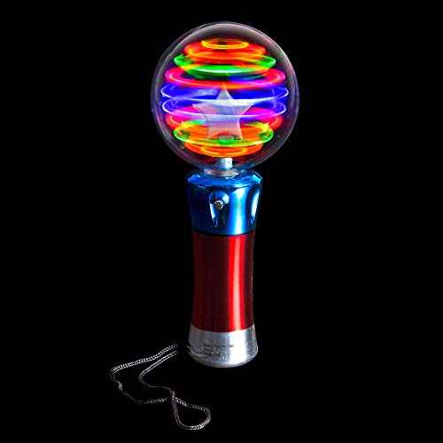 Spinning Light Up Toys - Set of 2 Spinner Wand Sensory Toys For Kids - Magic Ball Spinning Light Wand and Spinning LED Orbiter Wand - Gift or Party Favor For Children with Autism, Toddler, Boys, Girls
