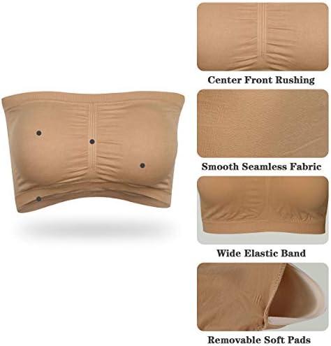 41rHihH5XnL. AC - JPGO Padded Bandeau Tube Top Bra Strapless Brarette Soft Bra For Women Size S-XXXL