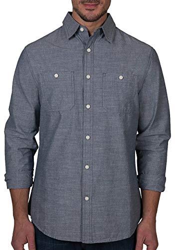 LEE Men's Button Down Shirt Long Sleeve Brady Dress Regular Big Tall, Jackson Indigo Blue, Large