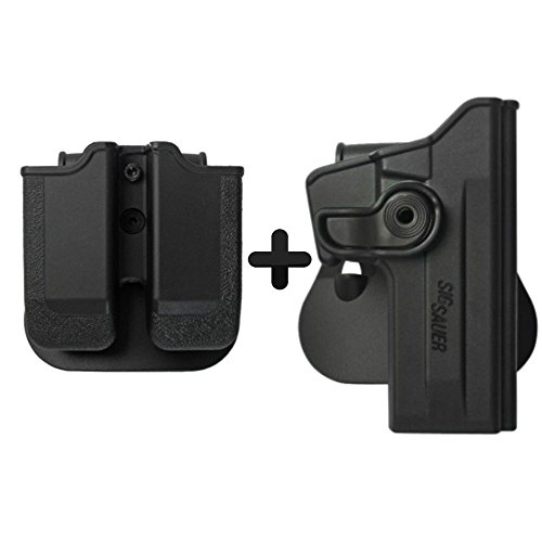 IMI Defense Tactical Combo Z1070 Best Roto Retention Paddle Holster + Double Magazine Pouch Black Polymer For Sig Sauer 226 (9mm/.40/357), P226 Tactical Operations (Tacops) Pistol Handgun