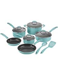 Cuisinart 57T-12TQ Non-Stick Cookware Set, Turquoise (12-Piece)