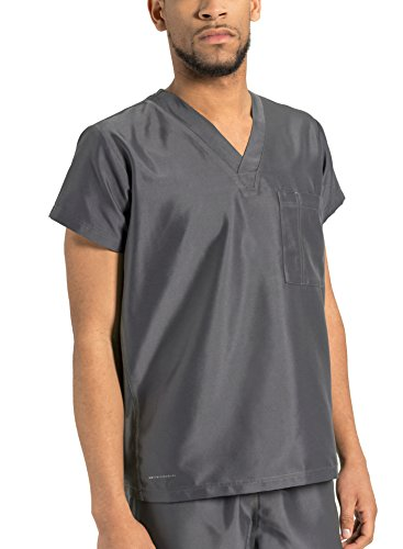 (TiScrubs Men's Original Single Pocket Scrub Top (Medium, Dark Titanium) )