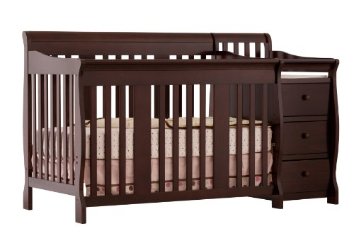 Storkcraft Portofino 4-in-1 Fixed Side Convertible Crib and Changer, Espresso, Easily Converts to Toddler Bed Day Bed or Full Bed, Three Position Adjustable Height Mattress, Some Assembly...