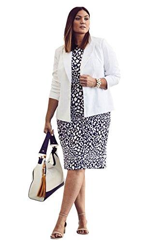 Size Jacket Dress Plus (Jessica London Women's Plus Size Single Breasted Jacket Dress - Navy White Cheetah, 14 W)