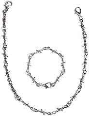 KESOCORAY Punk Gothic Thorns Stainless Steel Barbed Wire Chain Necklace Bracelet Silver Thick Jewelry for Men