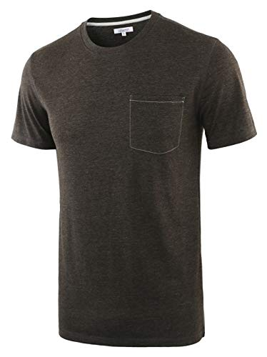 Vetemin Mens Classic Soft Short Sleeve Crew Neck Jersey Pocket Knit T-Shirt Tee Heather Charcoal ()