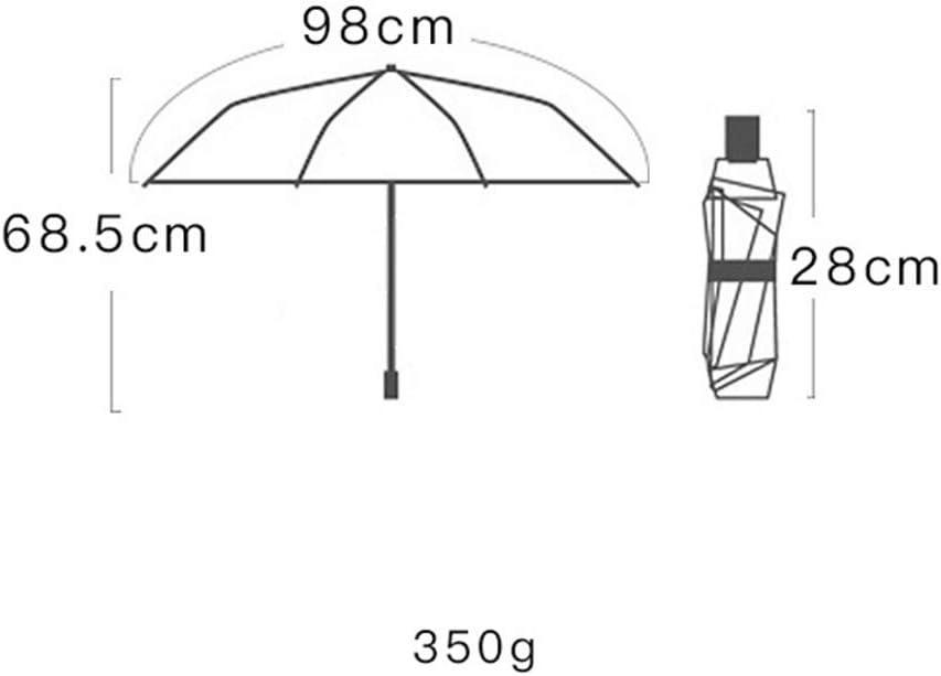 Qeeuanl Simple Full Automatic Umbrella Dual-use Triangle Geometry Student Folding Umbrella Men and Women Sun Umbrella Sunscreen Black Umbrella Color : A
