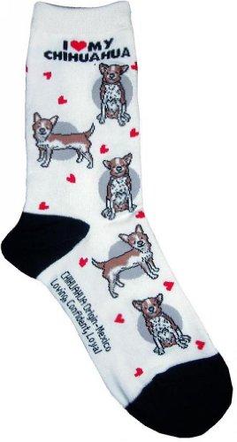 I Love My Chihuahua White Sock Fantasy Hosiery