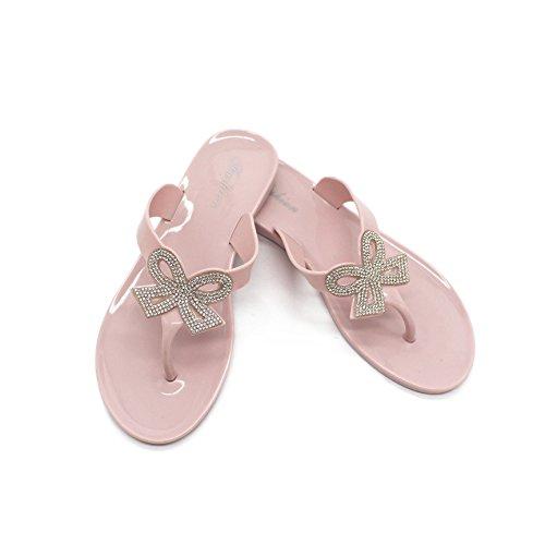 Btrada Womens Thong Bowknot Flip Flops Jelly Thong Womens Flat Sandals Beach Shoes B07CC4PY2X Parent 1b1054